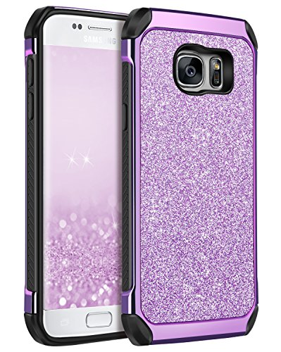 BENTOBEN Case for Galaxy S7, 2 in 1 Luxury Glitter Bling Hybrid Slim Hard Cover Laminated Sparkly Shiny Faux Leather Chrome Shockproof Protective Girl Women Cover for Samsung Galaxy S7 (G930), Purple