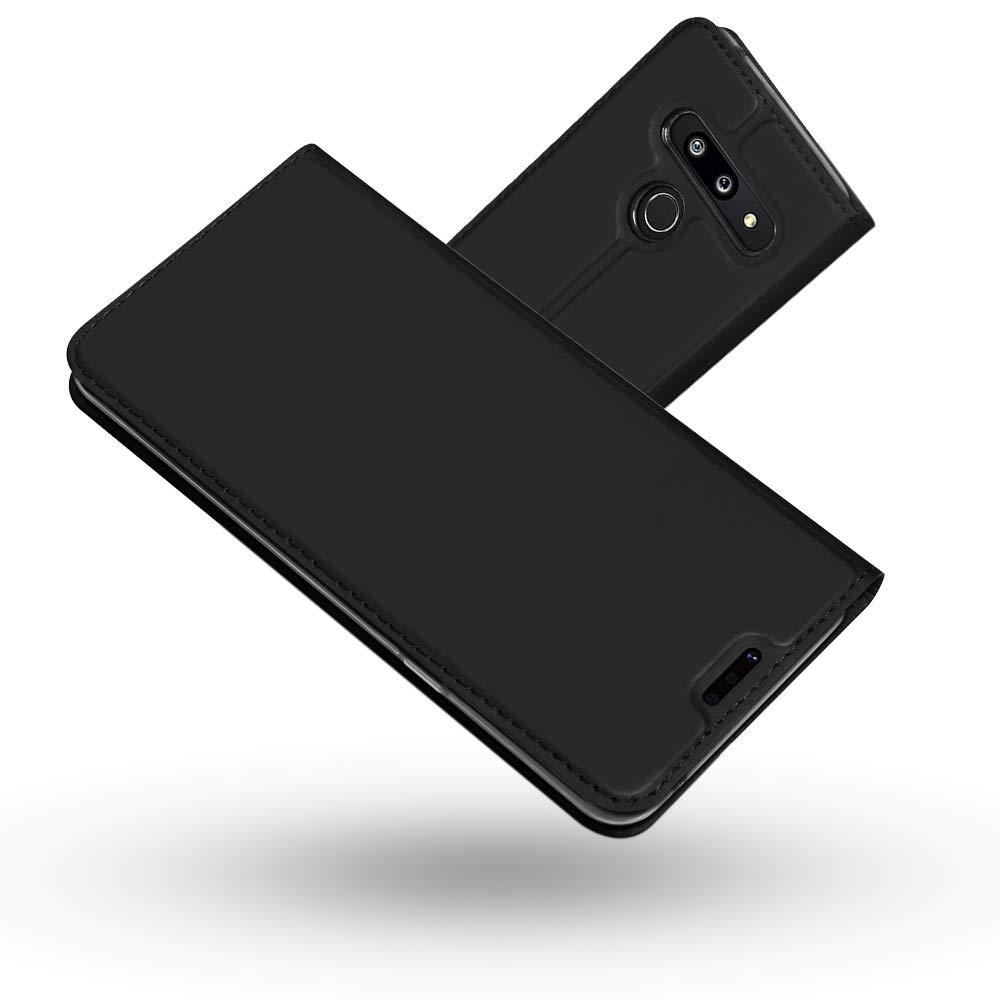 Slim Case de Estilo Billetera Carcasa Libro de Cuero,Carcasa PU Leather con TPU Silicona Case Interna Suave para LG G8 ThinQ Radoo Funda LG G8 ThinQ Negro Gris
