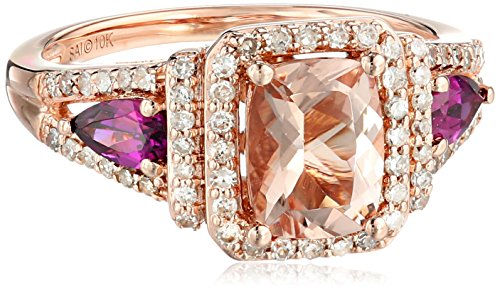 10k Rose Gold Morganite, Rhodolite, and Diamond Ring (1/3cttw, H-I Color, I2-I3 Clarity), Size (10k Rhodolite Ring)