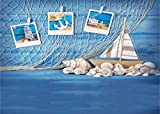 Yeele Navigation Backdrops 7x5ft Nautical Photography Background Sea Blue Wooden Plank Shell Sailboat Starfish Conch Fishing Net Pictures Baby Adult Artistic Portrait Photoshoot Props Wallpaper