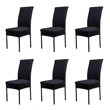 HMwish koobea Fundas para sillas Pack de 6 Elástico Fundas sillas Comedor Extraíble Fundas Elásticas, Cubiertas para sillas(Negro)