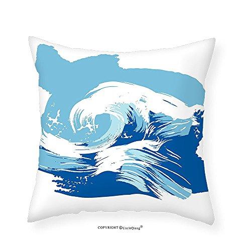 VROSELV Custom Cotton Linen Pillowcase Ocean Sealife Beach Themed Surfing Miami Waves Sea Marine Life Image Art Print for Bedroom Living Room Dorm Blue Light Blue White - The Falls Map Miami