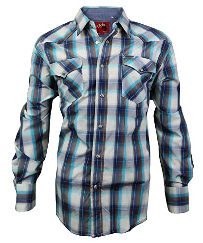 Slim Western Pearl Snap Shirt (Rodeo Clothing Co. Men's Western Cowboy Pearl Snap Long Sleeve Plaid Shirt)