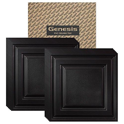 Genesis Easy Installation Icon Relief Lay-In Black Ceiling Tile / Ceiling Panel, Carton of 12 (2' x 2' Tile) - Rust Vinyl Flooring