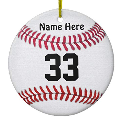 Lplpol Personalized Baseball Ornaments Your Name & Number Xmas Trees Home Decorated Ceramic Ornaments Porcelain Ornament Personalize Souvenir (Mini Baseball Christmas Ornament)