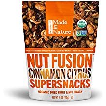 Made in Nature Organic Super Snacks, Cinnamon Citrus Nut & Fruit Fusion, Warm Combination of Organic Apples, Cranberries, Almonds, Cashews, and Cinnamon with Added Citrusy Kick, 4 Ounce (Pack of 6)