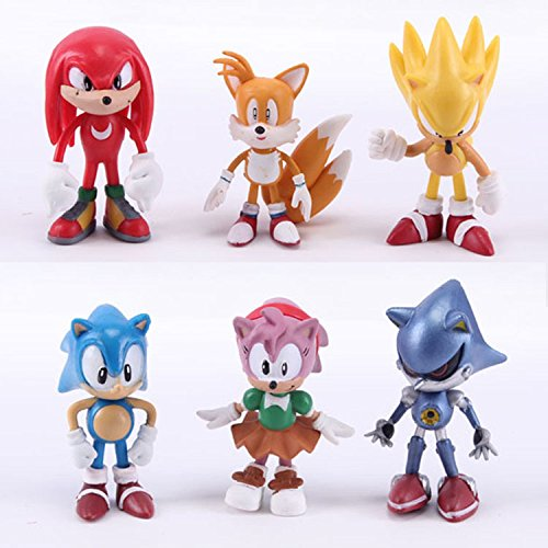 Max Fun Set of 6pcs Sonic the Hedgehog Action Figures, 5-7cm Tall Cake toppers- Classic Sonic, Amy, Super Sonic, Tails, Metal Sonic, and Knuckles ()