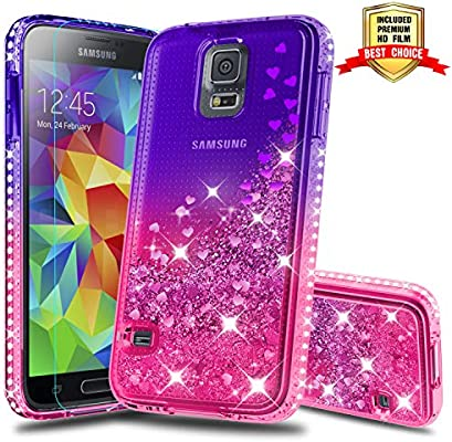Galaxy S5 Case, Samsung Galaxy S5 Girly Cases with HD Screen Protector, Atump Fun Glitter Liquid Sparkle Diamond Cute TPU Silicone Protective Phone ...