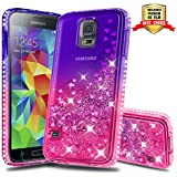 Galaxy S5 Case, Samsung Galaxy S5 Girly Cases with HD Screen Protector, Atump Fun Glitter Liquid Sparkle Diamond Cute TPU Silicone Protective Phone Cover Case for Samsung Galaxy S5 Purple/Rose