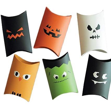 Color Zebra Divertidos dibujos animados de Halloween, cajas de almohada de caramelos, cajas de
