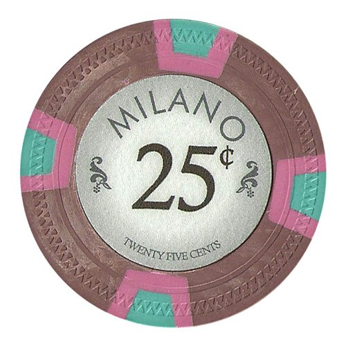 Claysmith Gaming 25 Cent Clay Composite 10 Gram Milano Poker Chips - Sleeve of 25