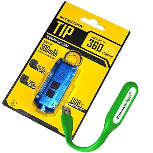 Nitecore TIP 360 lumen USB rechargeable keychain flashlight blue color body with EdisonBright brand USB powered reading light