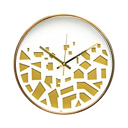 Modern Art District In Craft Design 12 Non-Ticking Sweep Silent Wall Clock with Bronze Finish Frame (Golden Scraps)