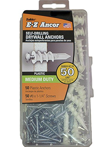 Plastic E-z Ancor Kit #50 Self Drilling Drywall Anchor Set, with Screws 8 X 1-1/4