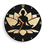 MonaStarLight Meditation BIG Wood Wall Clock Non-ticking, Hatha Raja Yoga Asana Lotus Wall Art Décor