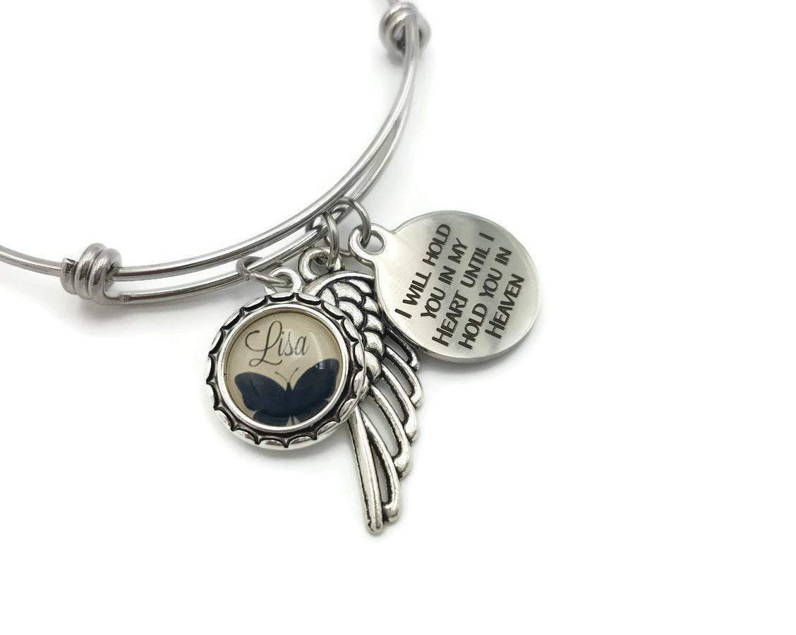 Sympathy Gift, Personalized Remembrance Memorial Bracelet, Butterfly and Angel Wing, I Will Hold You
