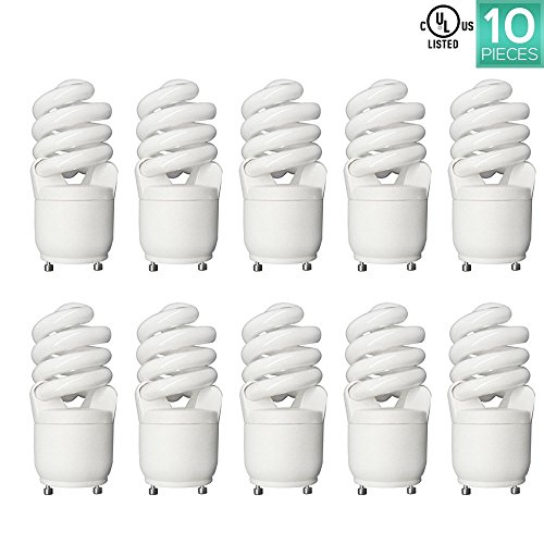 15w Warm White Cfl (Luxrite LR22300 (10-Pack) CF13 13-Watt CFL T2 Spiral GU24 Bulb, Equivalent To 60W Incandescent, Warm White 2700K, 900 Lumens, GU24 Bi-Pin Base)