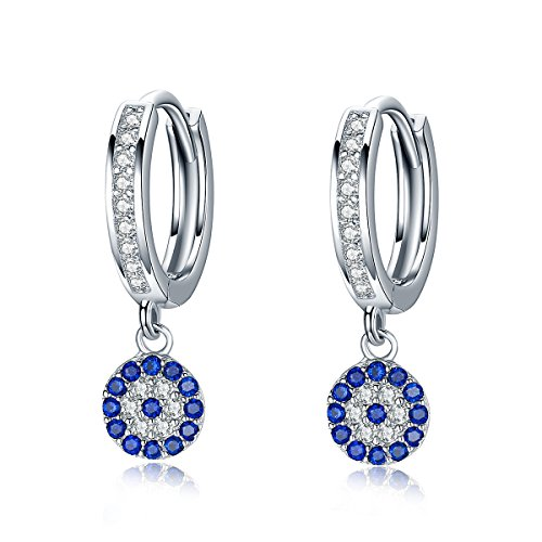 BAMOER Platinum Plated 925 Sterling Silver Luster Blue Eyes Drop Hoop Earrings for Women