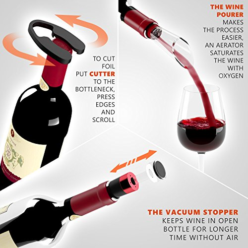 Electric Wine Opener with Charger Black Edition - Gift Set for Wine Lovers-Kit with Batteries and Foil Cutter Uncle Viner by Uncle Viner (Image #4)