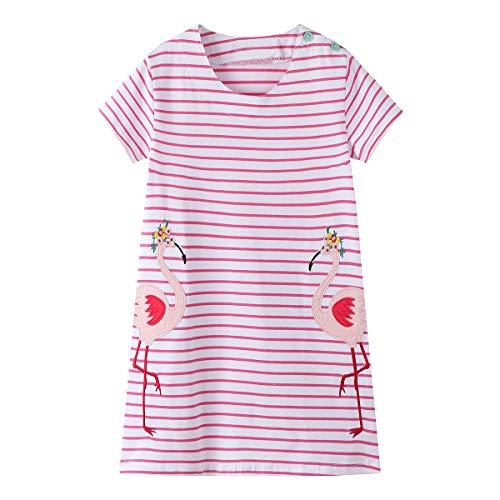 (IsabelaKids Little Girls Animal Print Cotton Summer Short Sleeve Tunic Dress with Striped Pocket (4T, Pink Bird))
