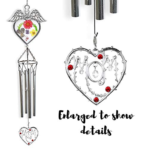 BANBERRY DESIGNS Mom Wind Chimes - Angel Sun Catcher Windchime with Dried Pressed Flowers in Glass and Mom Heart Medallion - Mothers Day Wind Chimes- Mom Gifts ()
