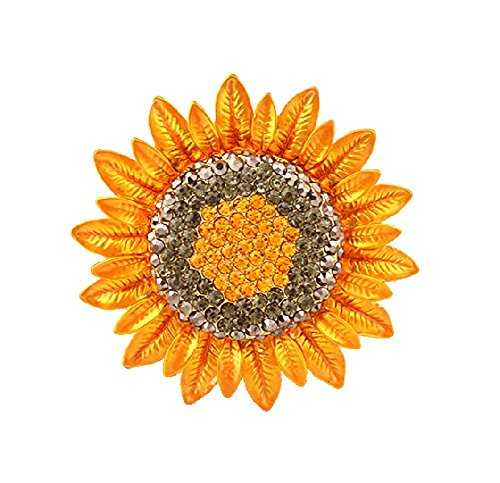 Sunvy 2018 New Women men Sunflower Brooch Pins Crystal Fashion Luxury Brooch Pin Jewelry for Gifts (Crystal Brooch Sunflower)