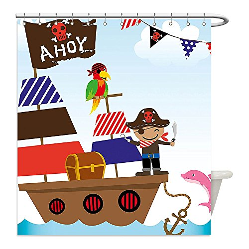 Dog Pirate Treasure Chest Costume (Liguo88 Custom Waterproof Bathroom Shower Curtain Polyester Ahoy Its a Boy Cute Pirate Kids Treasure Chest with Ship on Ocean Background Illustration Multicolor Decorative bathroom)
