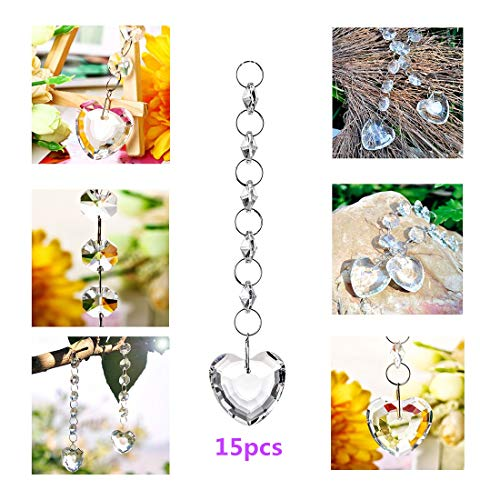 Valentine Suncatcher - H&D 15PCS Crystals Chandelier Ornaments Hanging Prisms Fengshui Suncatcher Rainbow Pendant Maker (Heart Hanging Drop)