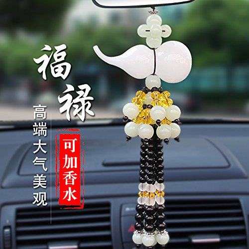 car Perfume Necklace Pendant Jade Gourd Security Peace Symbol Rearview Mirror Ornaments (Alabaster - [Deluxe Edition] Lucky Gourd Send - Alabaster Mirror