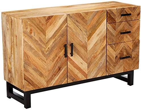Thompson 3-drawer Server with Chevron Inlay Pattern Natural Mango -