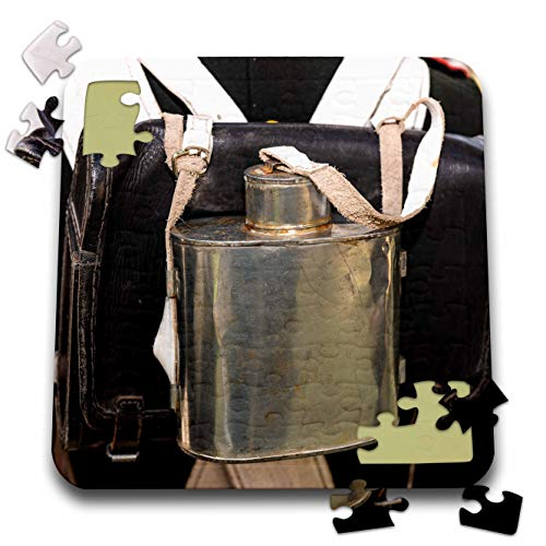 3dRose Alexis Photography - Objects Military - Napoleon Wars era. Leather Back Pack and a Flask of an Infantryman - 10x10 Inch Puzzle (pzl_304549_2)
