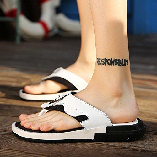 estate Uomini scarpa Uomini Tempo libero sandali vera pelle Confortevole Spiaggia scarpa moda infradito sandali ,bianca,US=6.5,UK=6,EU=39 1/3,CN=39