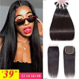 Brazilian Straight Hair Bundles with Closure(12 14 16+10), Unprocessed Virgin Human Hair Bundles with Lace Closure Free Part Human Hair Extensions Natural Black Color