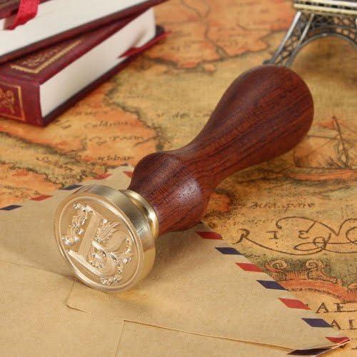 Westeng Vintage-Stil Wachs Siegelstempel Dekorativer Siegel Holzgriff Brief 26 Buchstabe