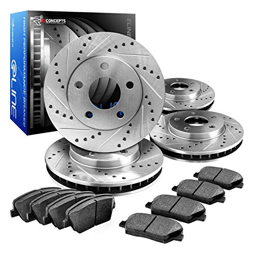 R1 Concepts CEDS10451 Eline Series Cross-Drilled Slotted Rotors And Ceramic Pads Kit - Front and Rear