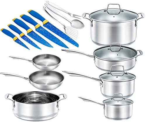Chef s Star 19 Piece Stainless Steel Pot Pans Set – Professional Chef Grade Induction Ready Cookware Set – Impact Bonded Aluminium Technology – Bonus Blue Knife Set