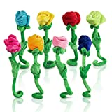 Tplay Rose Plush Flower Colorful Soft Stuffed Flowers Toy With Bendable Stems For Kids Gift Decoration 16'' Set Of 8