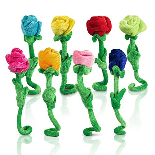Tplay Rose Plush Flower Colorful Soft Stuffed Flowers Toy With Bendable Stems For Kids Gift Decoration 12'' Set Of 8 by Tplay