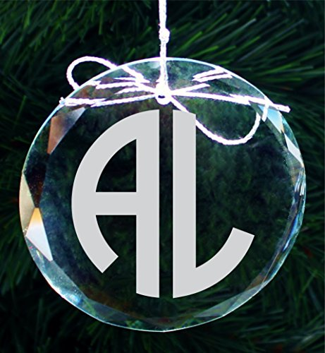 2 Initial Engraved Monogram Christmas Ornament, Personalized Handmade Crystal Ornaments - COR010