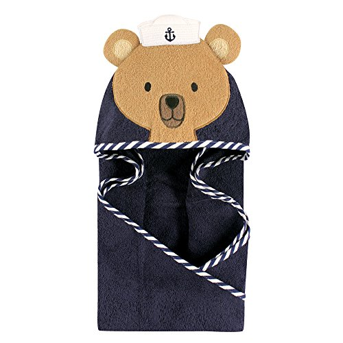Hudson Baby Unisex Baby Animal Face Hooded Towel, Sailor Bear 1-Pack, One Size