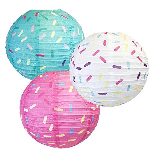 Just-Artifacts-12inch-Hanging-Paper-Lanterns-Sprinkles-Pattern-3pcs