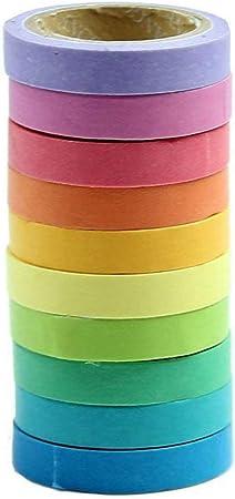 Qpower, Washi Rainbow, 10 X Decorativo de Washi Tape Arco Iris Rollos de Papel Para Manualidades Diy: Amazon.es: Hogar
