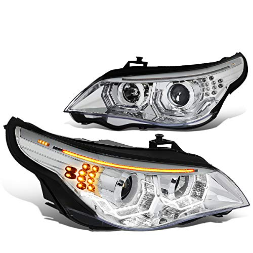 Pair of Chrome Housing Amber LED Turn Signal Dual Halo Projector Headlight for 04-07 BMW E60 5-Series