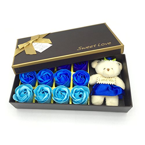 JIALEEY Romantic Rose Soap Flower Petals With Little Bear, Best Gifts Ideas for Anniversary/Birthday/Wedding/Valentine's Day/Mother's Day (12Pcs/Box Blue) by JIALEEY