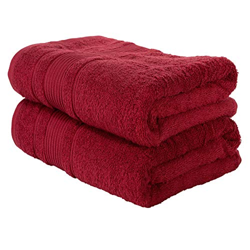 Qute Home Towels 100% Turkish Cotton Burgundy-Red Bath Towels Set | Super Soft Highly Absorbent | Spa & Hotel Towels Quality Quick Dry Towel Sets for Bathroom, Shower Towel - (Bath Towel - Set of 2)