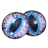 40mm Big Glass Purple and Blue Cat Eyes Or Dragon Eyes Cabochons for Fantasy Art Doll Taxidermy Sculptures or Jewelry Making Crafts Set of 2