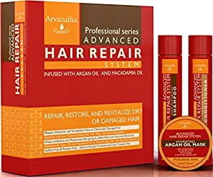 Advanced Hair Repair Shampoo and Conditioner Set with Argan Oil and Macadamia Oil by Arvazallia - Sulfate Free Shampoo , Conditioner, and Deep Conditioner Hair Mask System for Dry or Damaged Hair