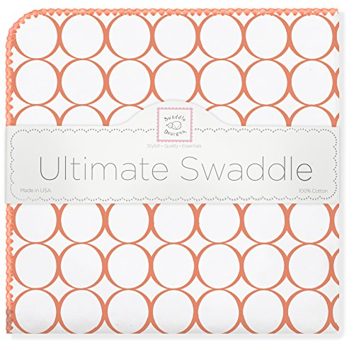 SwaddleDesigns Ultimate Swaddle Blanket, Made in USA, Orange Mod (Orange Mod Circles)