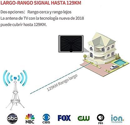 Kimwood Antena de TV HDTV, Antena Interior (Rango 95km-129km, 5m ...