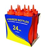 New Star Foodservice 26405 Squeeze Bottles, Plastic, Wide Mouth, 24 oz, Red, Pack of 6